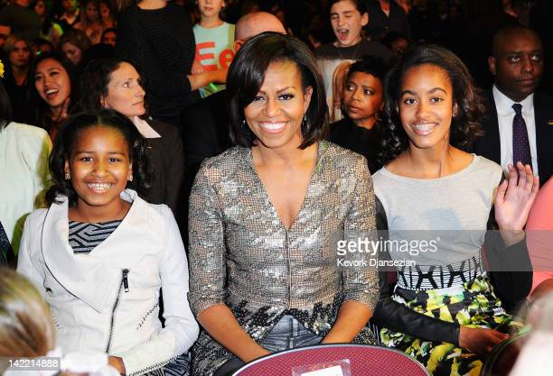 Sasha Obama First Lady Michelle Obama and Malia Obama at Nickelodeon's 25th Annual Kids' Choice Awards held at Galen Center on March 31 2012 in Los...