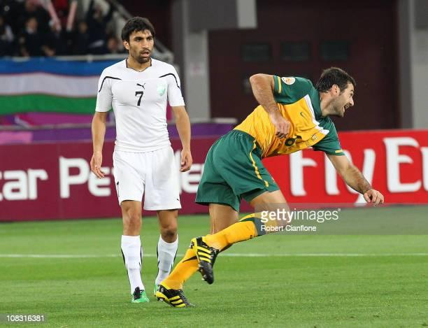 Sasha Ognenovski of Australia celebrates his goal during the AFC Asian Cup Semi Final match between Uzbekistan and the Australian Socceroos at...