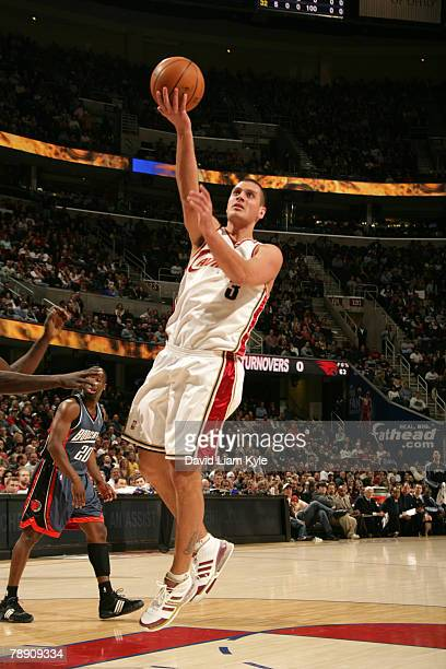 Sasha Pavlovic of the Cleveland Cavaliers glides in for the layup against the Charlotte Bobcats at the Quicken Loans Arena January 11 2008 in...
