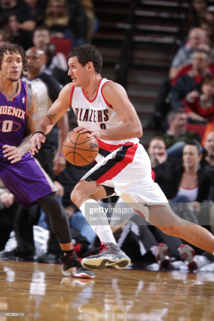 Sasha Pavlovic #3 of the Portland Trail Blazers drives to the basket against the Phoenix Suns on February 19, 2013 at the Rose Garden Arena in Portland, Oregon.