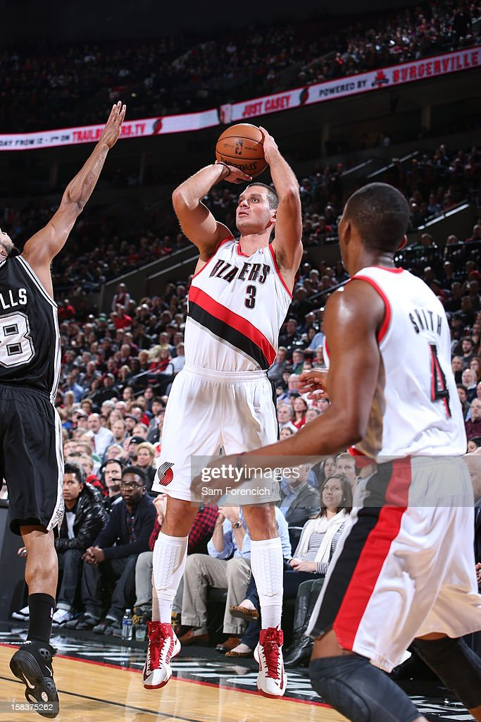 Sasha Pavlovic #3 of the Portland Trail Blazers takes a shot against the San Antonio Spurs on December 13, 2012 at the Rose Garden Arena in Portland, Oregon.