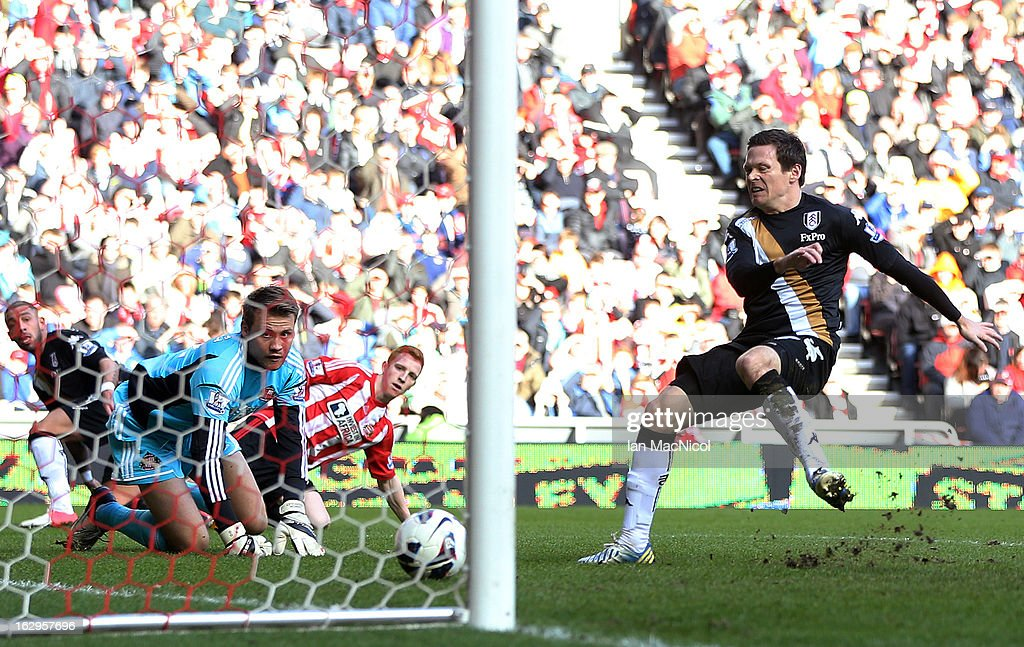 Sasha Riether of Fulham scores during the Barclays Premier League match between Sunderland and Fulham at the Stadium of Light on March 02, 2013 in Sunderland, England.