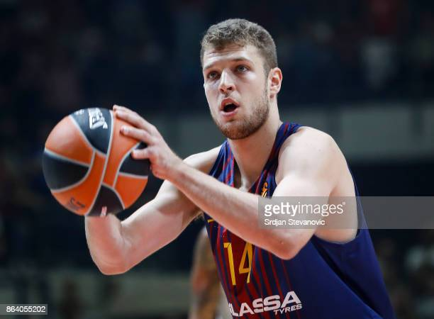 Sasha Vezenkov of Barcelona in action during the 2017/2018 Turkish Airlines EuroLeague Regular Season game between Crvena Zvezda mts Belgrade and FC...