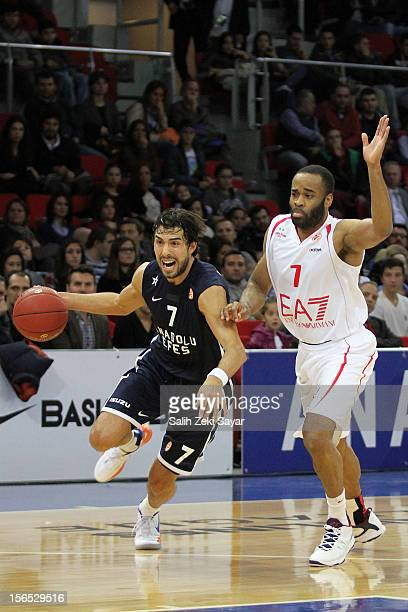 Sasha Vujacic of Anadolu Efes competes with Malik Hairston of EA7 Emporio Armani during the 20122013 Turkish Airlines Euroleague Regular Season Game...