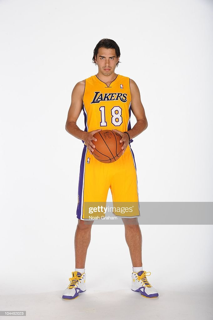 <a gi-track='captionPersonalityLinkClicked' href=/galleries/search?phrase=Sasha+Vujacic&family=editorial&specificpeople=210542 ng-click='$event.stopPropagation()'>Sasha Vujacic</a> #18 of the Los Angeles Lakers poses for a portrait at Media Day at Toyota Sports Center on September 25, 2010 in El Segundo, California.