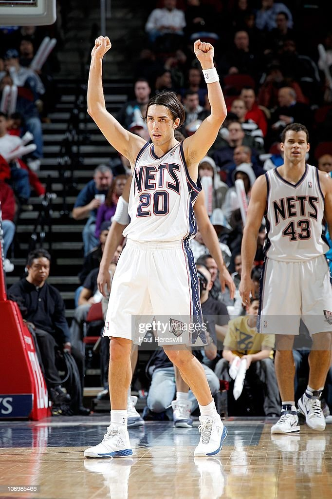 Sasha Vujacic #20 of the New Jersey Nets during the game against the New Orleans Hornets of the New Orleans Hornets against of the New Jersey Nets on February 9, 2011 at the Prudential Center in Newark, New Jersey.