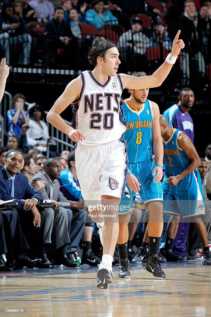 <a gi-track='captionPersonalityLinkClicked' href=/galleries/search?phrase=Sasha+Vujacic&family=editorial&specificpeople=210542 ng-click='$event.stopPropagation()'>Sasha Vujacic</a> #20 of the New Jersey Nets during the game against the New Orleans Hornets of the New Orleans Hornets against of the New Jersey Nets on February 9, 2011 at the Prudential Center in Newark, New Jersey.