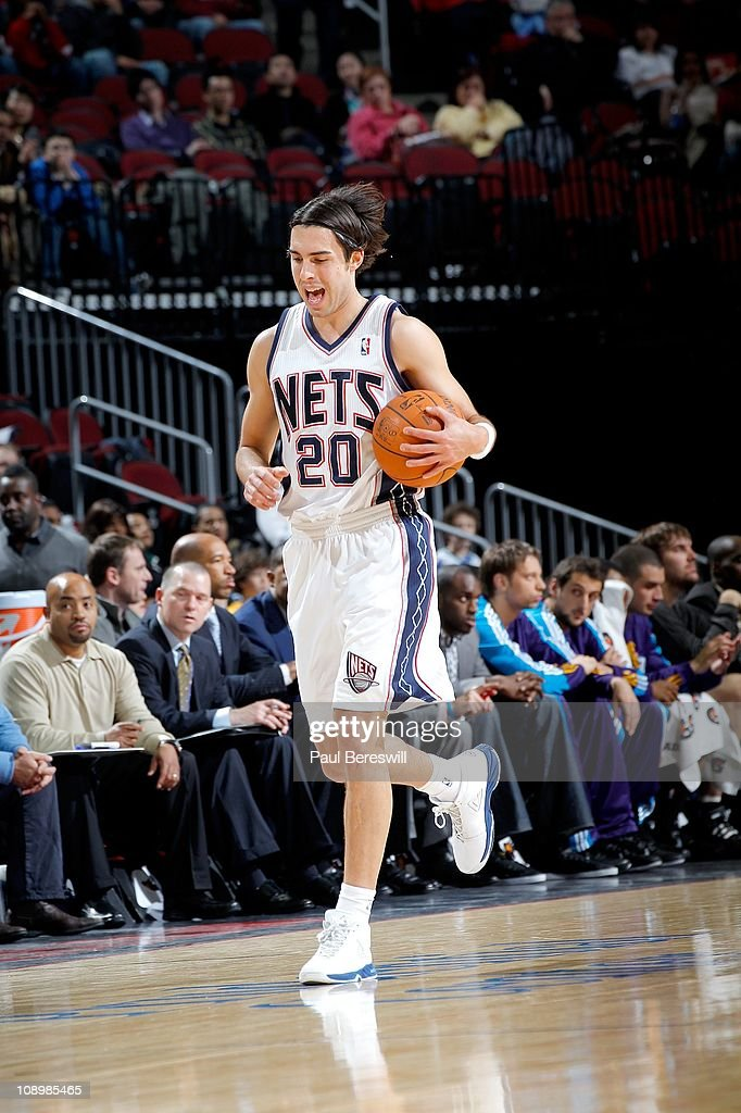 <a gi-track='captionPersonalityLinkClicked' href=/galleries/search?phrase=Sasha+Vujacic&family=editorial&specificpeople=210542 ng-click='$event.stopPropagation()'>Sasha Vujacic</a> #20 of the New Jersey Nets moves the ball against the New Orleans Hornets of the New Orleans Hornets against of the New Jersey Nets on February 9, 2011 at the Prudential Center in Newark, New Jersey.