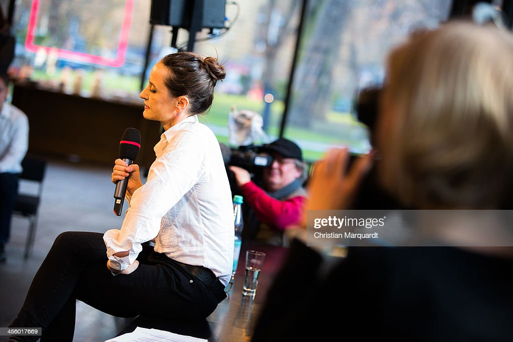 <a gi-track='captionPersonalityLinkClicked' href=/galleries/search?phrase=Sasha+Waltz&family=editorial&specificpeople=825331 ng-click='$event.stopPropagation()'>Sasha Waltz</a> attends a press conference in the 'Berliner Festspiele' on December 13, 2013 in Berlin, Germany.