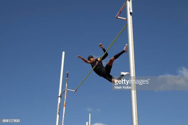Sasha Zhoya of Western Australia clears the bar to set a new record in the mens under 17 pole vault on day two of the 2017 Australian Athletics...