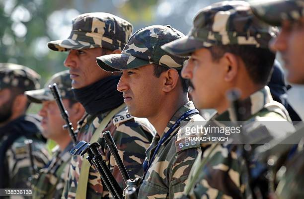 Sashastra Seema Bal paramilitary personnel attend a briefing at a local police station for election duty in Basti Uttar Pradesh state on February 6...