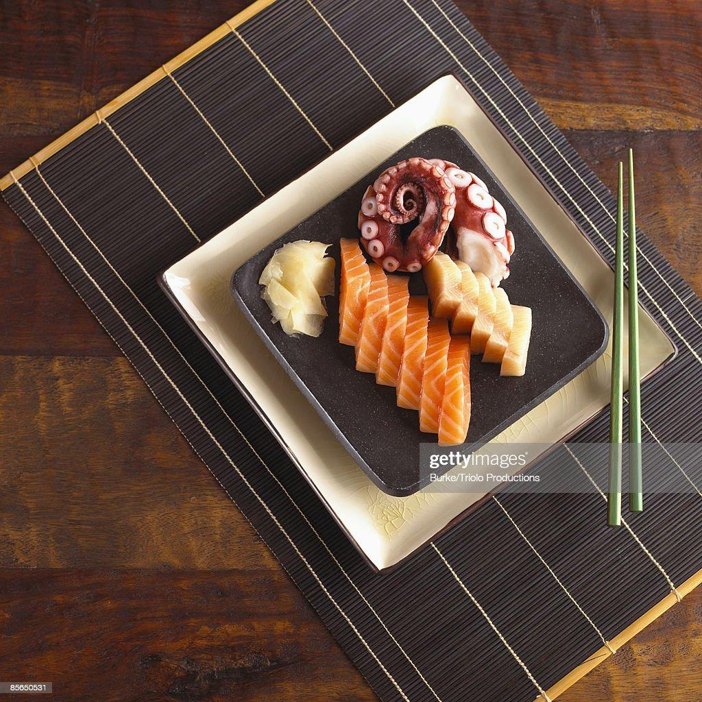 Sashimi and chopsticks