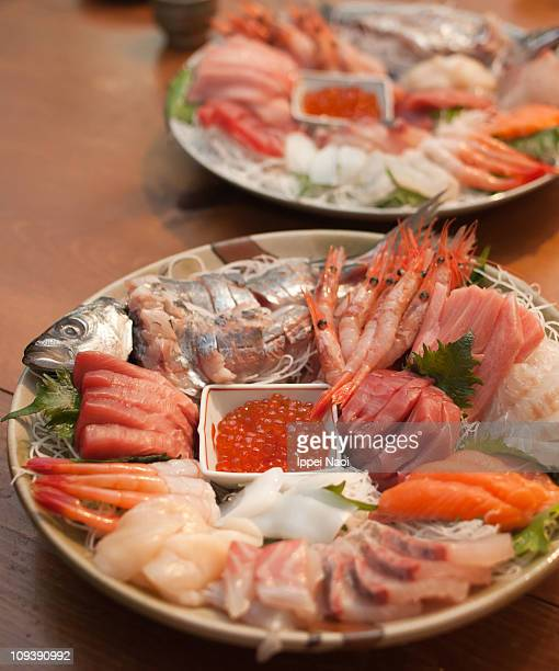 Sashimi plate for Tamaki handroll sushi in Japan