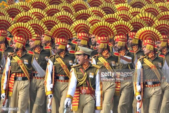 Sashstra Seema Bal jawans marching during the 65th Republic Day parade at Rajpath on January 26 2014 in New Delhi India India adopted its democratic...