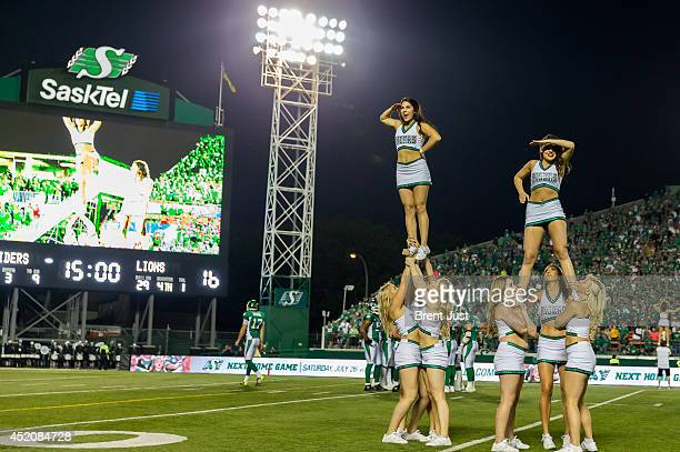 Saskatchewan Roughrider Cheer Team performs during a break in a game between the BC Lions and Saskatchewan Roughriders in week 3 of the 2014 CFL...