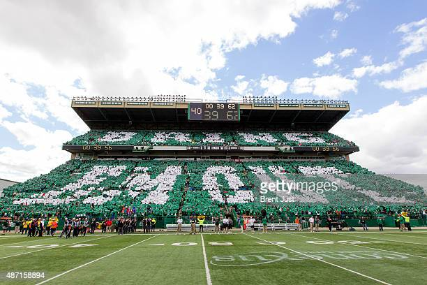 Saskatchewan Roughrider fans in Mosaic Stadium hold up cards just before the Riders take the field for the game between the Winnipeg Blue Bombers and...