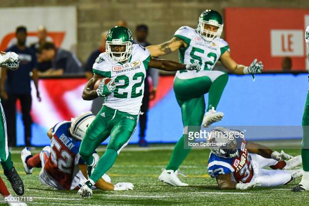 Saskatchewan Roughriders running back Greg Morris avoiding contact with Montreal Alouettes linebacker Nicolas Boulay during the Saskatchewan...
