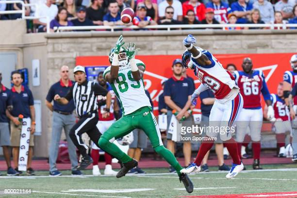 Saskatchewan Roughriders wide receiver Duron Carter about to miss a catch during the Saskatchewan Roughriders versus the Montreal Alouettes game on...