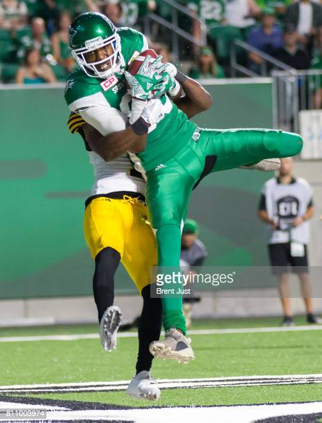 Saskatchewan Roughriders wide receiver Duron Carter makes a touchdown catch in the game between the Hamilton Tiger Cats and the Saskatchewan...