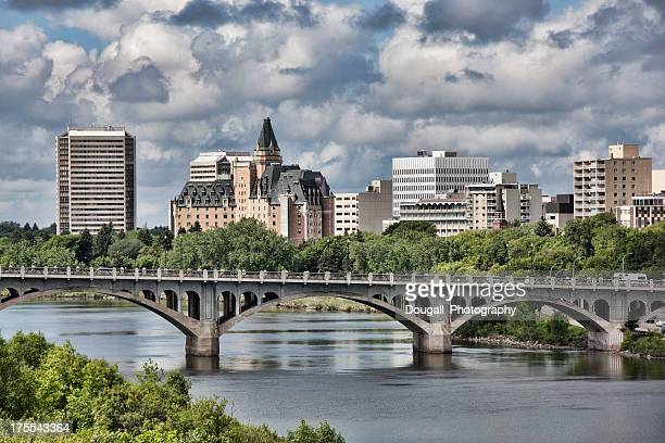 Saskatoon skyline with broad view of the University Bridge