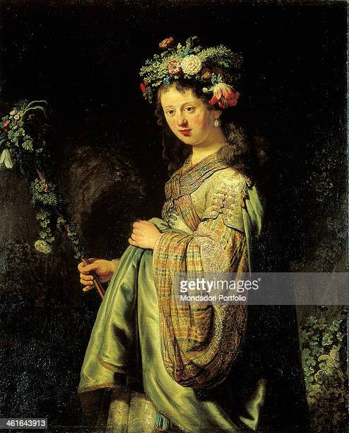 Saskia as Flora by Rembrandt Harmenszoon van Rijn 17th Century oil on canvas 125 x 101 cm Russia St Petersburg The State Hermitage Museum Whole...