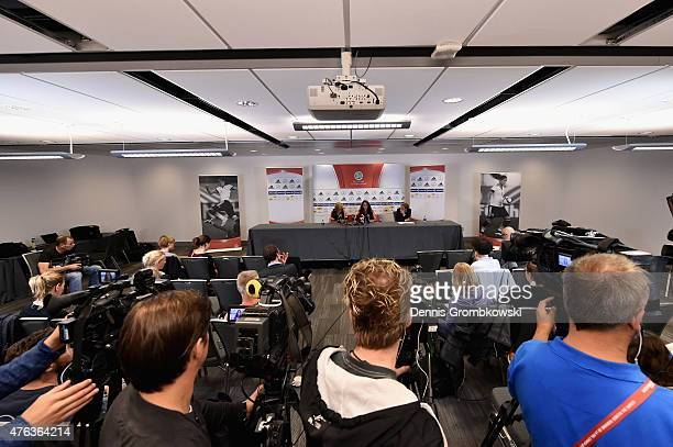 Saskia Bartusiak and Sara Daebritz of Germany face the media during a press conference at The Shaw Centre on June 8 2015 in Ottawa Canada