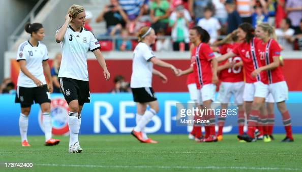 Saskia Bartusiak of Germany walks off dejected after the UEFA Women's Euro 2013 group B match between Germany and Norway at Kalmar Arena on July 17...