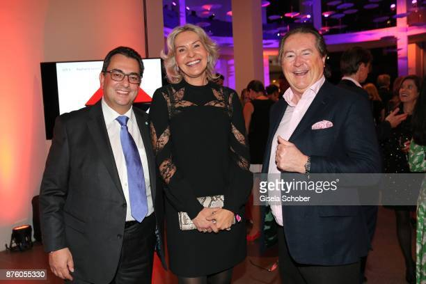 Saskia Greipl and her husband Stavros Kostantinidis and Robert SchulerVoith during the PIN Party 'Let's party 4 art' at Pinakothek der Moderne on...