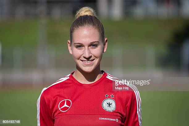 Saskia Matheis poses during the Germany Women's U20 team presentation on September 13 2016 in Duesseldorf Germany