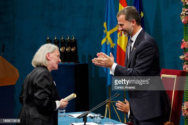 Saskia Sassen receives from Prince Felipe of Spain the Prince of Asturias Award for Social Sciences during the 'Prince of Asturias Awards 2013'...