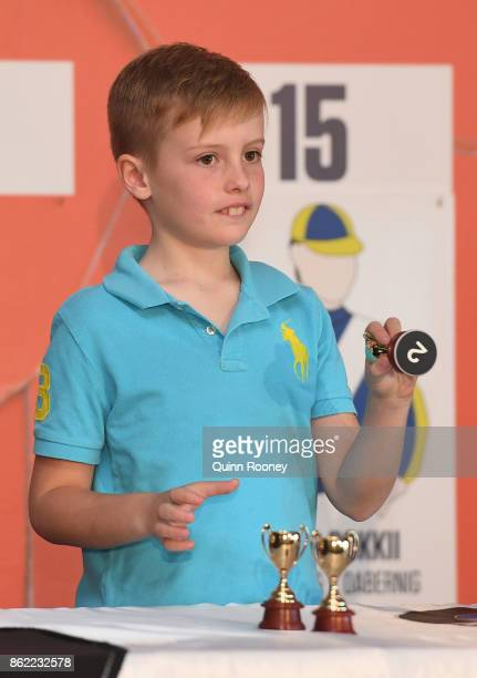 Saskia Williams son draws barrier 2 for Johannes Vermeer during the Caulfield Cup Barrier Draw at Caulfield Racecourse on October 17 2017 in...