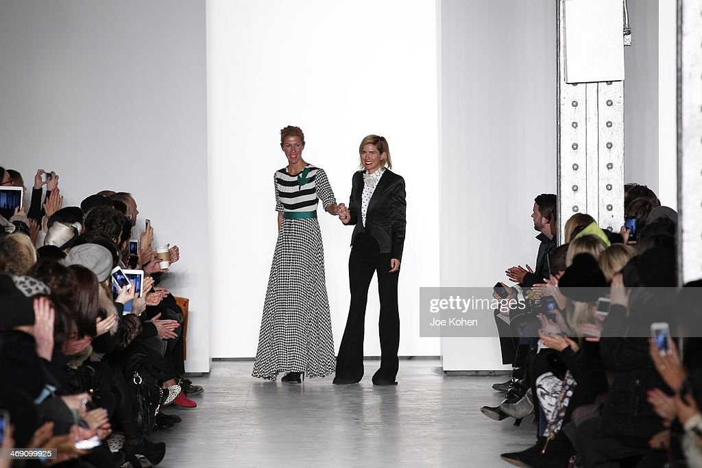 Sass & Bide designers Sarah-Jane Clarke and <a gi-track='captionPersonalityLinkClicked' href=/galleries/search?phrase=Heidi+Middleton&family=editorial&specificpeople=212909 ng-click='$event.stopPropagation()'>Heidi Middleton</a> walk the runway at the Sass & Bide fashion show during Mercedes-Benz Fashion Week Fall 2014 at The Waterfront on February 12, 2014 in New York City.