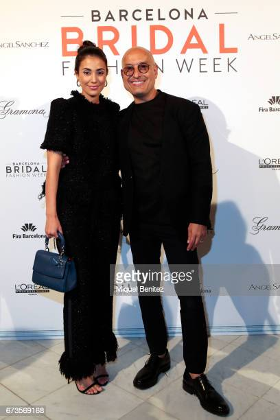 Sassa de Osma and Angel Aguilar pose in a photocall during the Angel Aguilar show Bridal Night Angel Aguilar during Barcelona Bridal Fashion Week...