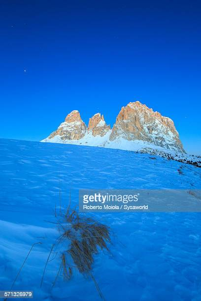 Sassolungo at dusk Dolomites Italy