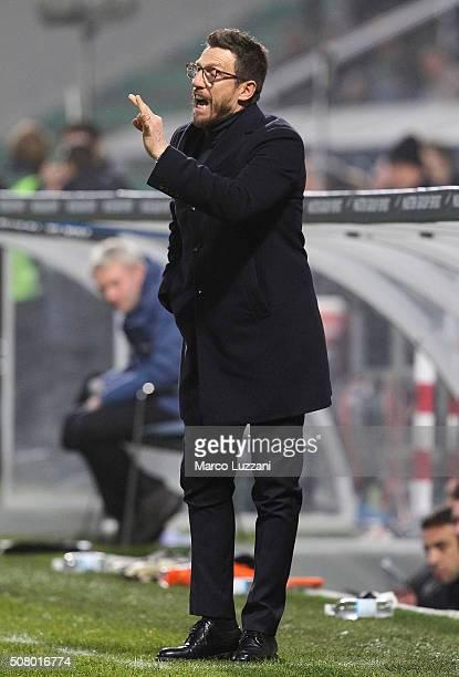 US Sassuolo Calcio coach Eusebio Di Francesco shouts to his players during the Serie A match between US Sassuolo Calcio and AS Roma at Mapei Stadium...