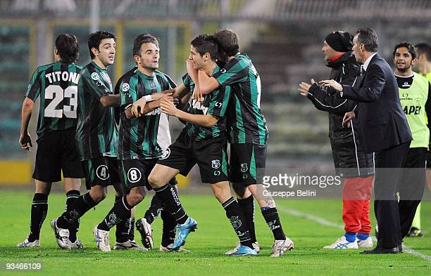 Sassuolo Calcio players celebrate the goal by Alessandro Noselli of US Sassuolo Calcio during The Serie B match between Ancona and Sassuolo at Del...