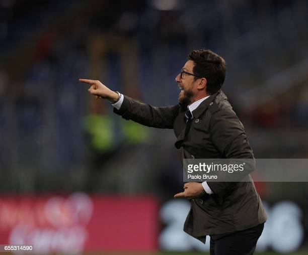 Sassuolo head coach Eusebio Di Francesco gestures during the Serie A match between AS Roma and US Sassuolo at Stadio Olimpico on March 19 2017 in...