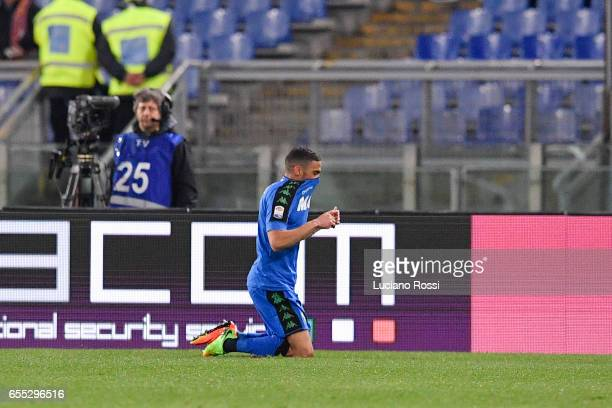 Sassuolo player Gregoire Defrel celebrates the goal during the Serie A match between AS Roma and US Sassuolo at Stadio Olimpico on March 19 2017 in...
