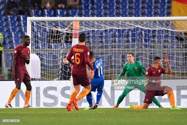 Sassuolo player Gregoire Defrel scores the goal during the Serie A match between AS Roma and US Sassuolo at Stadio Olimpico on March 19 2017 in Rome...