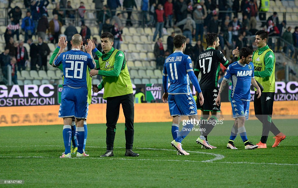 US Sassuolo players celebrate victory after the Serie A match between Carpi FC and US Sassuolo Calcio at Alberto Braglia Stadium on April 2, 2016 in Modena, Italy.