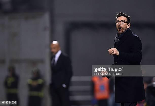Sassuolo's coach from Italy Eusebio Di Francesco reacts during the Italian Serie A football match Sassulo vs Roma at the Mapei Stadium in Reggio...
