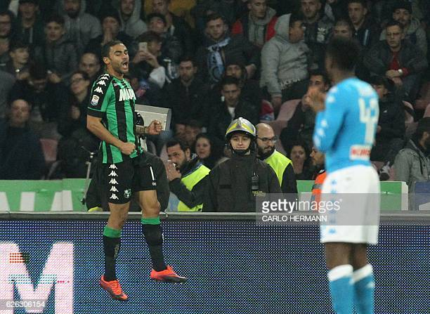 Sassuolo's forward from France Gregoire Defrel celebrates after scoring a goal during the Italian Serie A football match SSC Napoli vs US Sassuolo...