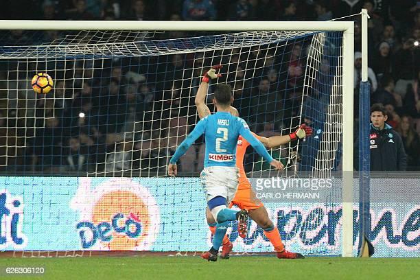 Sassuolo's forward from France Gregoire Defrel scores a goal during the Italian Serie A football match SSC Napoli vs US Sassuolo Calcio on November...