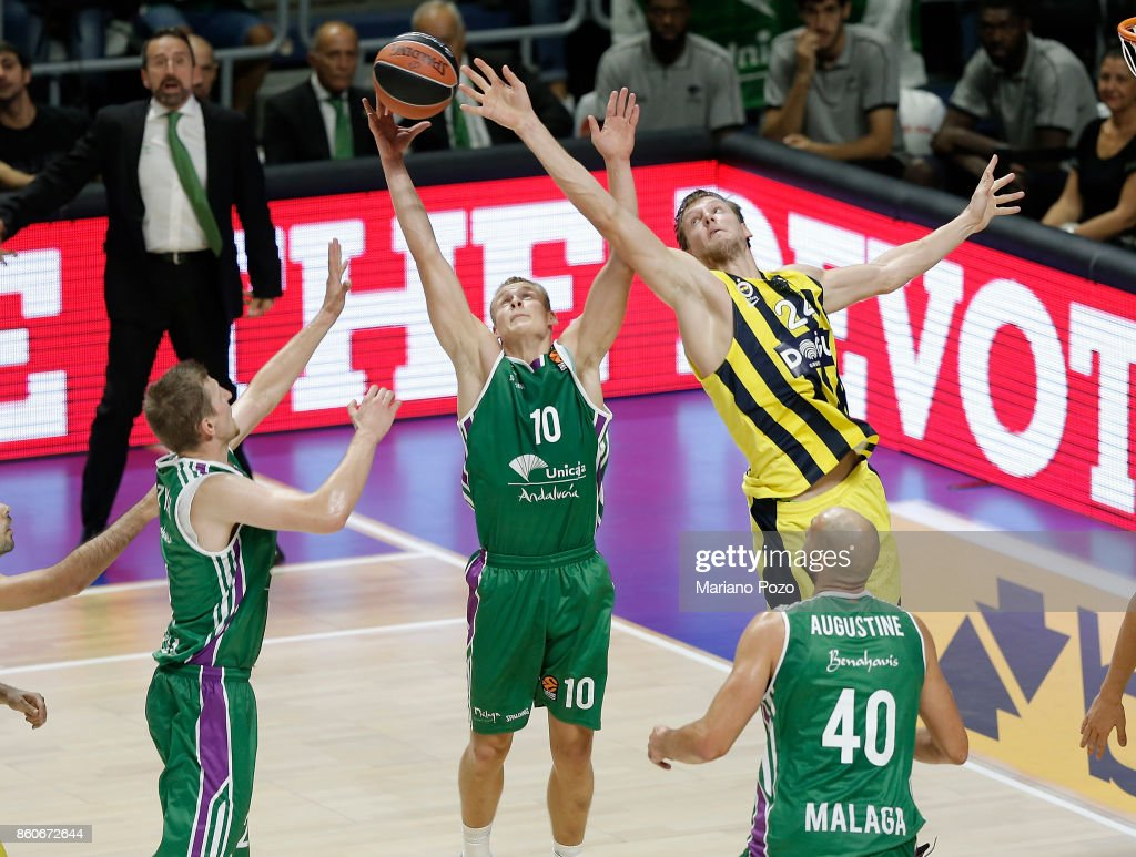 Sasu Salin, #10 of Unicaja Malaga in action during the 2017/2018 Turkish Airlines EuroLeague Regular Season Round 1 game between Unicaja Malaga v Fenerbahce Dogus Istanbul at Martin Carpena Arena on October 12, 2017 in Malaga, Spain.