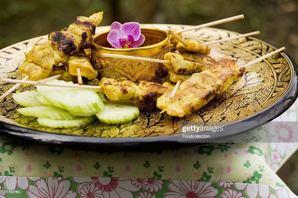 Sat? with peanut sauce and cucumber (Thailand) : Stock Photo