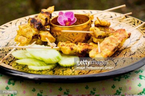 Sat? with peanut sauce and cucumber salad (Thailand) : Stock Photo