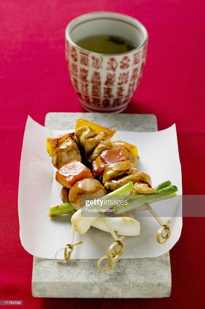 Sat? with spring onions, green tea : Stock Photo