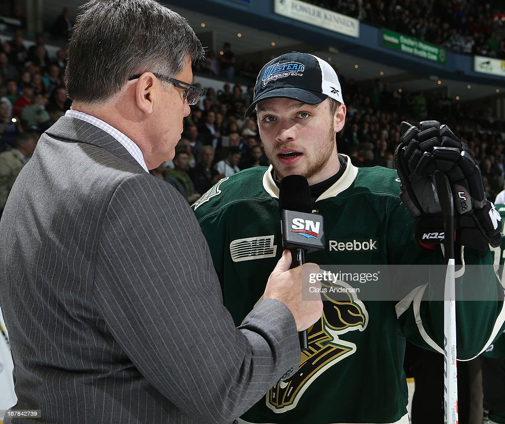 Satar of the game Max Domi #16 of the London Knights is interviewed by Sportsnet's Rob Faulds after winning Game Five of the Western Conference Final against the Plymouth Whalers on April 26, 2013 at the Budweiser Gardens in London, Ontario, Canada. The Knights defeated the Whalers 5-4 in overtime to win the series 4-1.