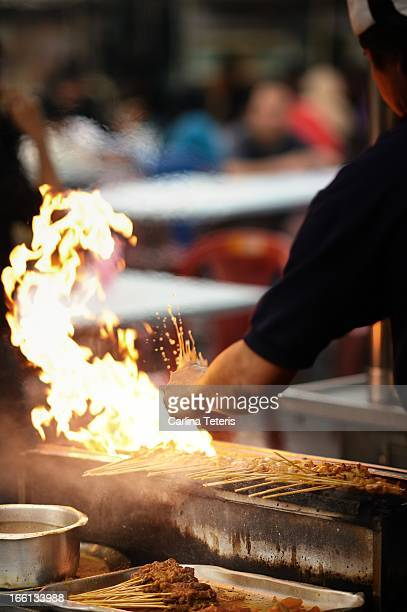 Satay grill flames