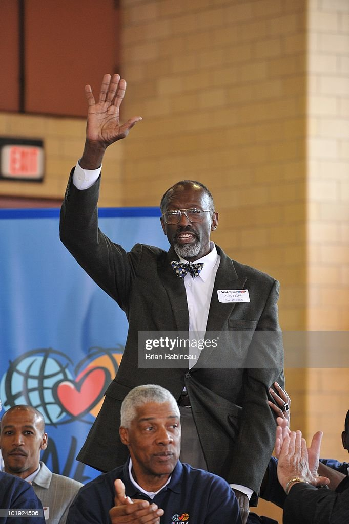 Satch Sanders, Celtics Legend, is introduced to the members during the unveiling of the Learn & Play Center at the Boston Centers for Youth & Families (BCYF) Tobin Community Center on June 9, 2010 in Boston, Massachusetts.